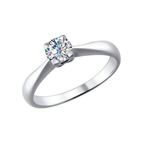 Кольцо из белого золота с бриллиантом (9010036) - фото