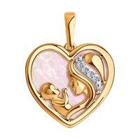 Подвеска «Мать и дитя» из золота с бриллиантами и розовым перламутром