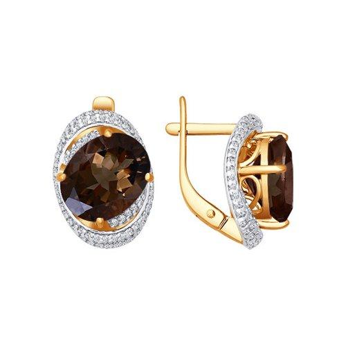 Серьги SOKOLOV из красного золота с крупным раухтопазом бронницкий ювелир серьги из красного золота ф7157 2 4736