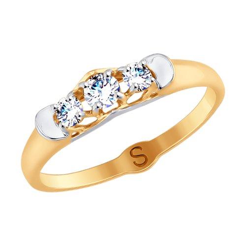 Кольцо из золота с фианитами (017751) - фото