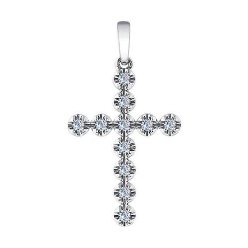 Крест из белого золота с бриллиантами (1030540-3) - фото