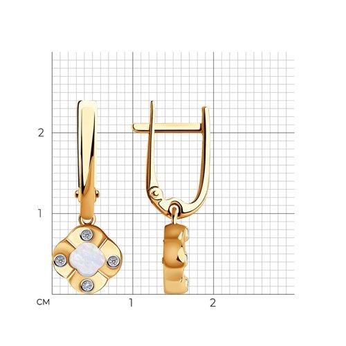 Серьги из золота с бриллиантами и перламутром 1021587 SOKOLOV фото 2