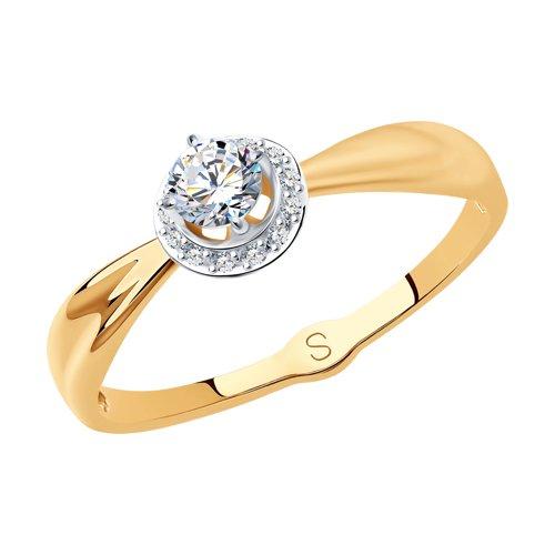 Кольцо из золота с фианитами (017932) - фото