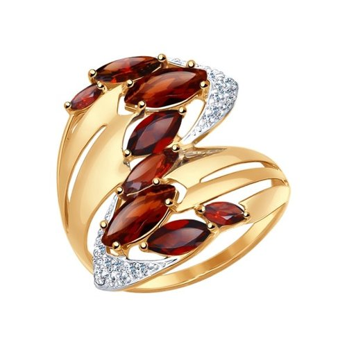 Кольцо SOKOLOV из золота с гранатами и фианитами