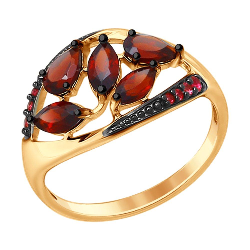 Кольцо SOKOLOV из золочёного серебра с гранатами и красными фианитами