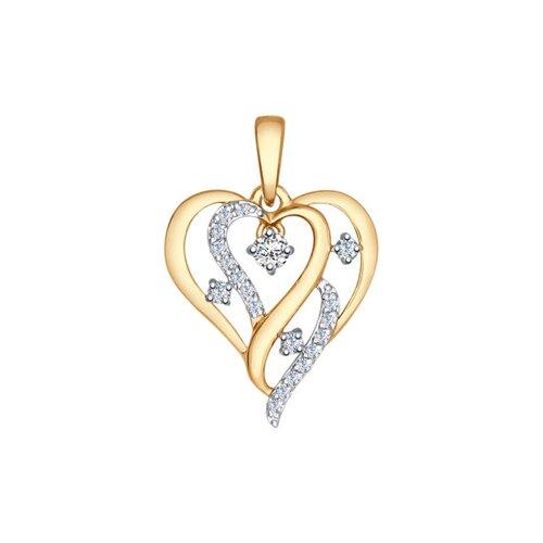 Подвеска «Сердце» из золота с фианитами
