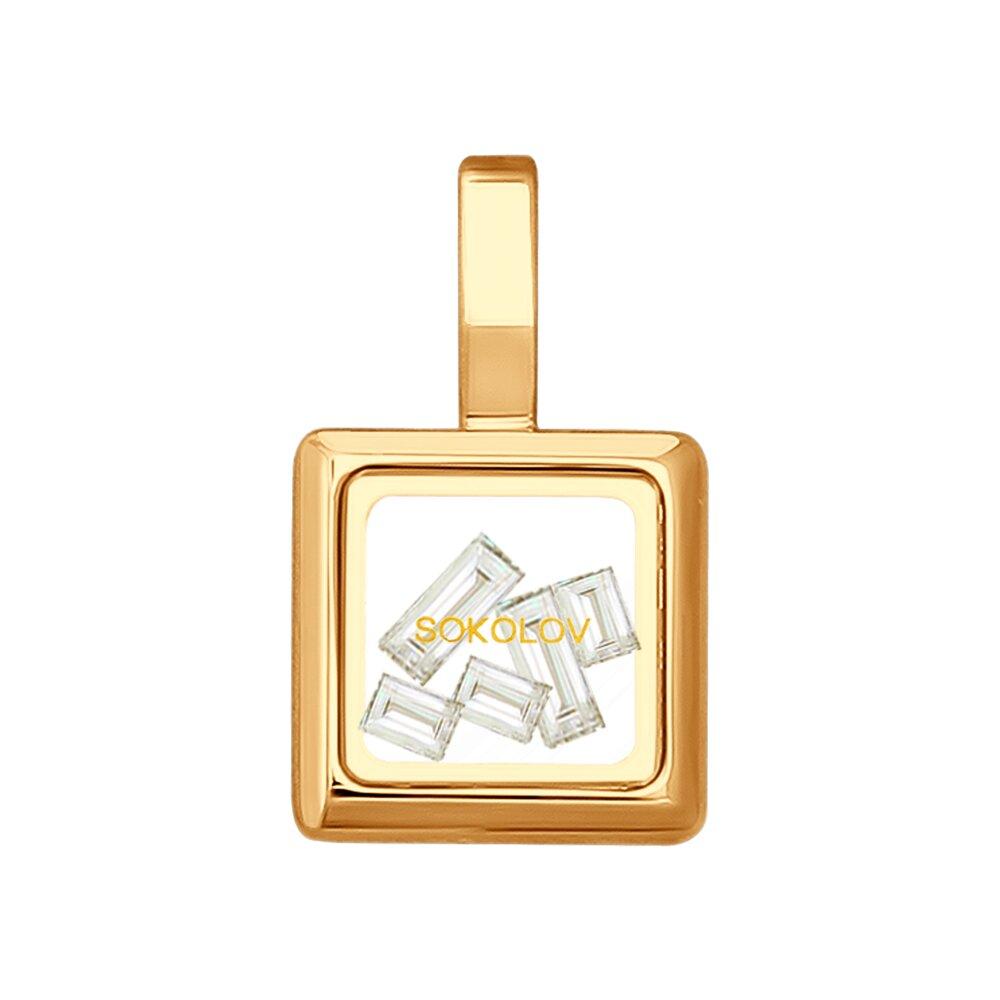 Золотая подвеска со Swarovski Zirconia и минеральным стеклом SOKOLOV фото