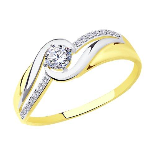 Кольцо из желтого золота с фианитами (017415-2) - фото