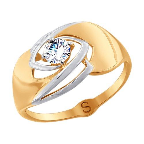 Кольцо из золота с фианитом (017778) - фото