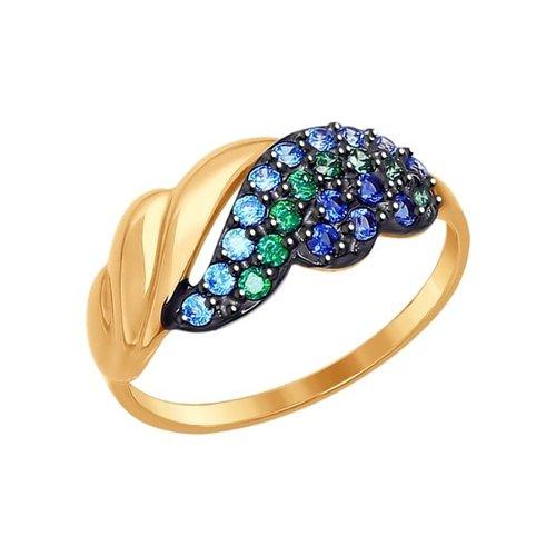 Кольцо из золота с зелёными, голубыми и синими фианитами