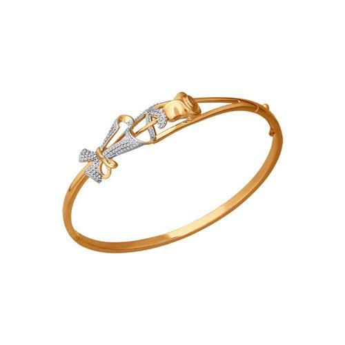 Браслет жёсткий SOKOLOV из золота с фианитами