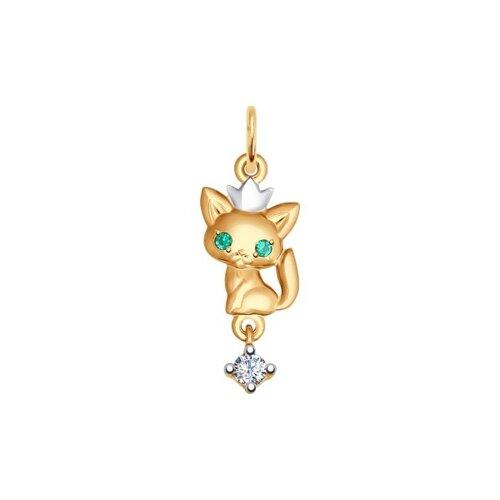 Подвеска из золота «Кошка» с зелёными фианитами