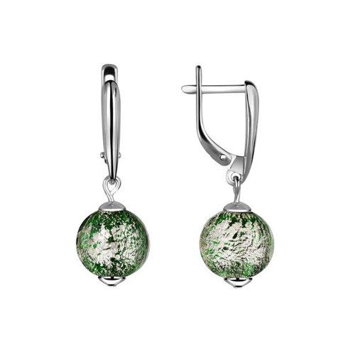 Серебряные серьги с муранским стеклом (94021072) - фото