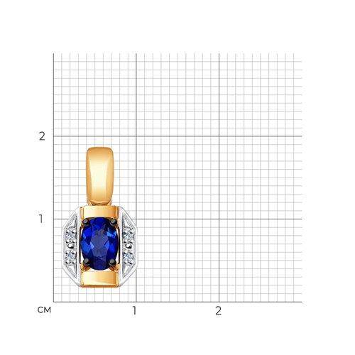 Подвеска из золота с бриллиантами и синим корунд (синт.) 6032058 SOKOLOV фото 2
