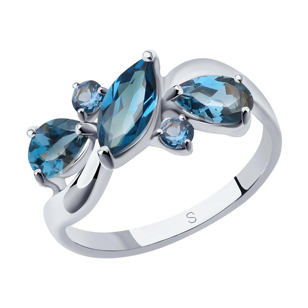Кольцо SOKOLOV из серебра с синими топазами фото