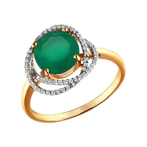 Кольцо из золота c фианитами и круглым агатом