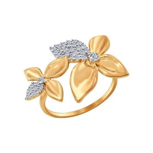 Золотое кольцо с двумя цветками SOKOLOV