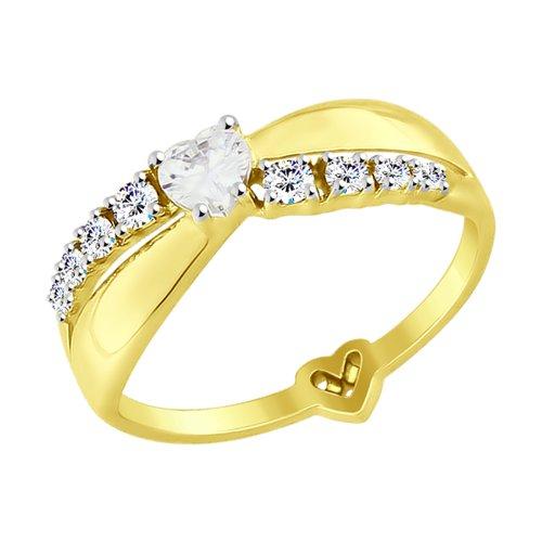Кольцо из желтого золота с фианитами (017571-2) - фото