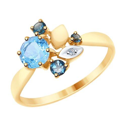 Кольцо из золота с голубым и синими топазами и фианитом (715030) - фото