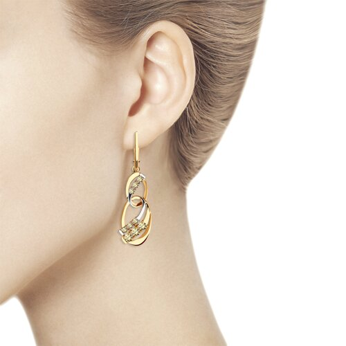 Серьги из золота с жёлтыми Swarovski Zirconia (81020454) - фото №2