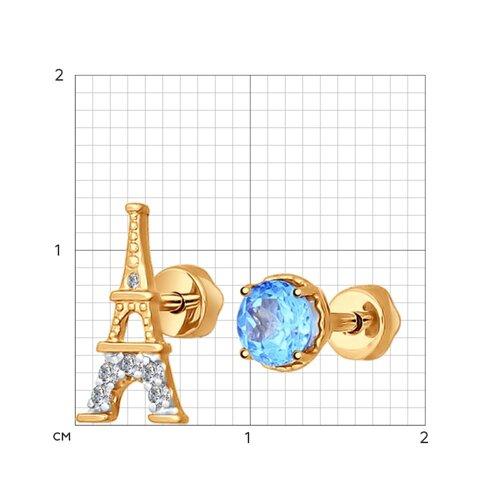 Серьги-пусеты из золота с топазами и фианитами (724338) - фото №2