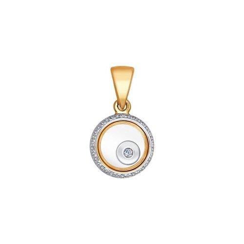 Подвеска из золота с бриллиантами и сапфировым стеклом