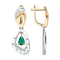 Серьги из комбинированного золота с бриллиантами и