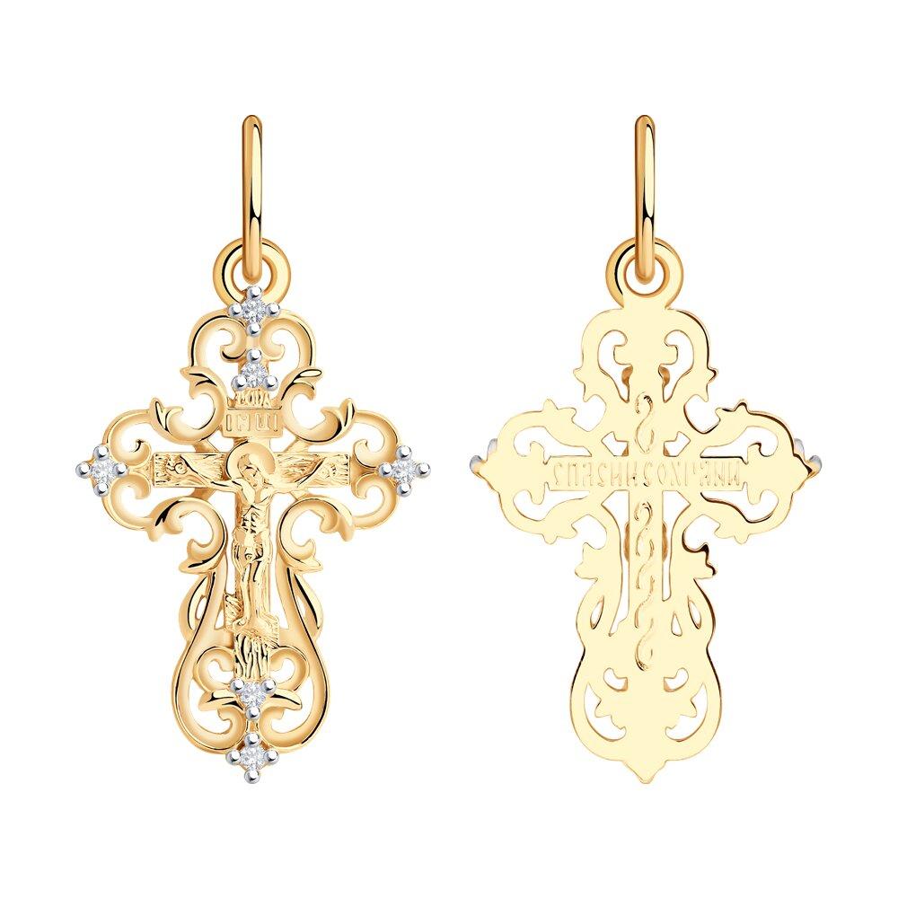 Крест SOKOLOV из золота с фианитами фото
