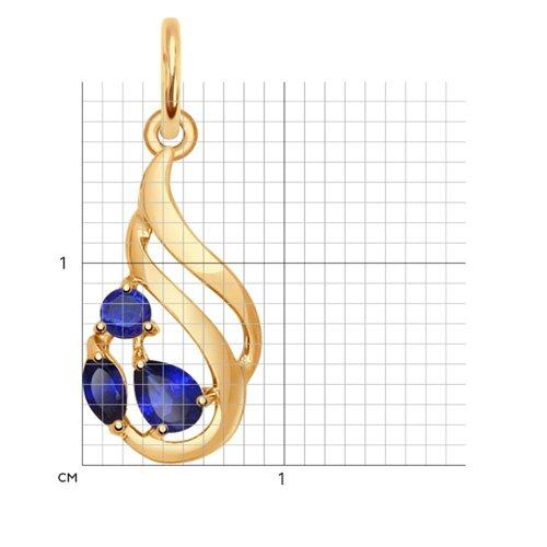 Подвеска из золота с корундами сапфировыми (синт.) (731453) - фото №2