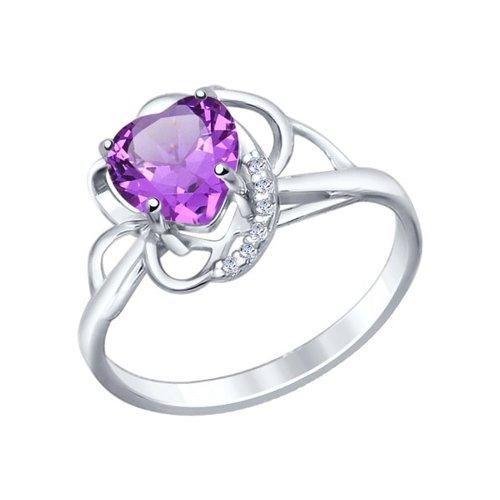 Кольцо love из серебра с аметистом и фианитами