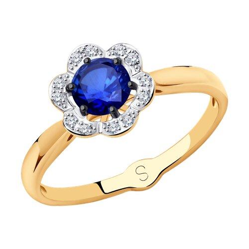 Кольцо из золота с бриллиантами и сапфиром (2011080) - фото
