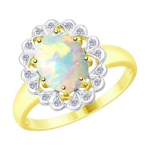 Кольцо из желтого золота с бриллиантами и опалом (6014064-2) - фото