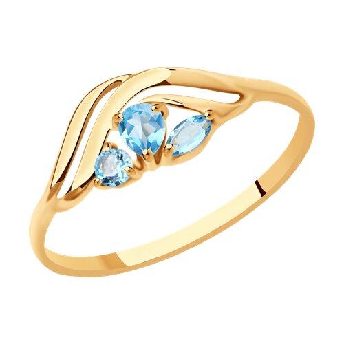 Кольцо из золота с голубыми топазами (714614) - фото