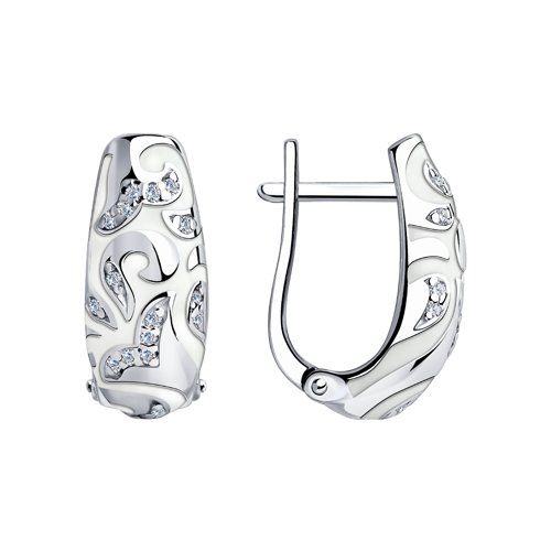 Серьги из серебра с эмалью с фианитами