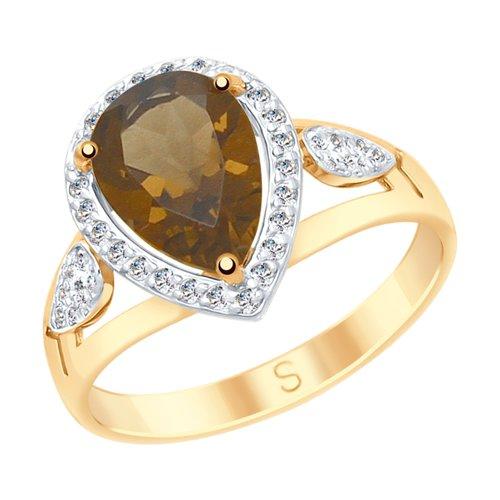 Кольцо из золота с раухтопазом и фианитами (715173) - фото