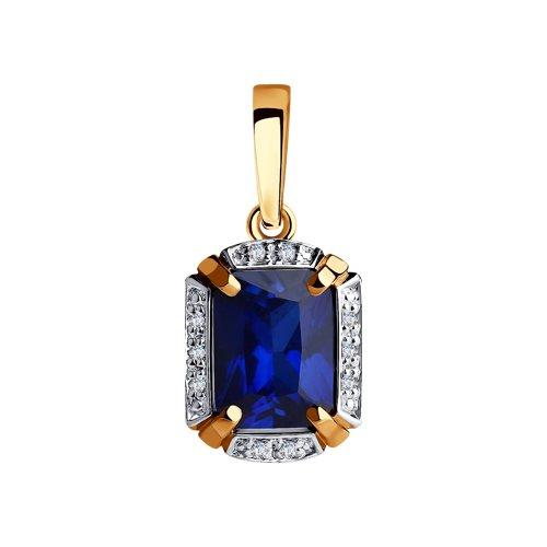Подвеска из золота с бриллиантами и синим корунд (синт.) (6032080) - фото
