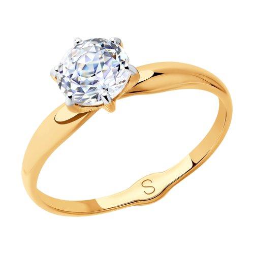 Кольцо из золота с фианитом (018598) - фото
