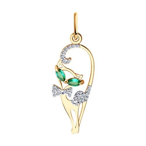 Подвеска «Кошечка» из золота с зелеными фианитами