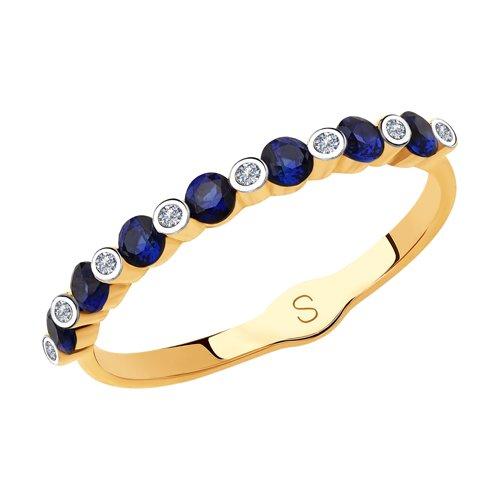 Кольцо из золота с бриллиантами и корундами