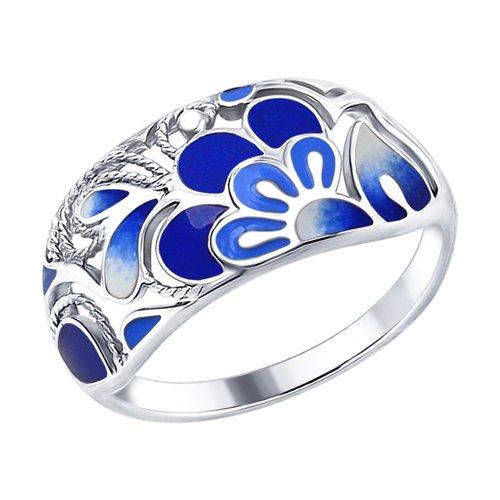 Кольцо из серебра с эмалью (94012580) - фото