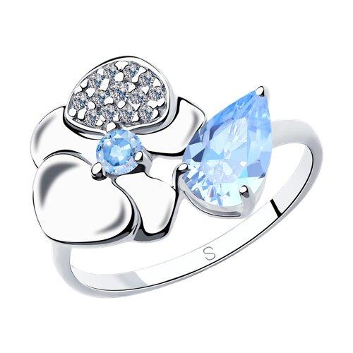 Кольцо из серебра с фианитами (94013013) - фото