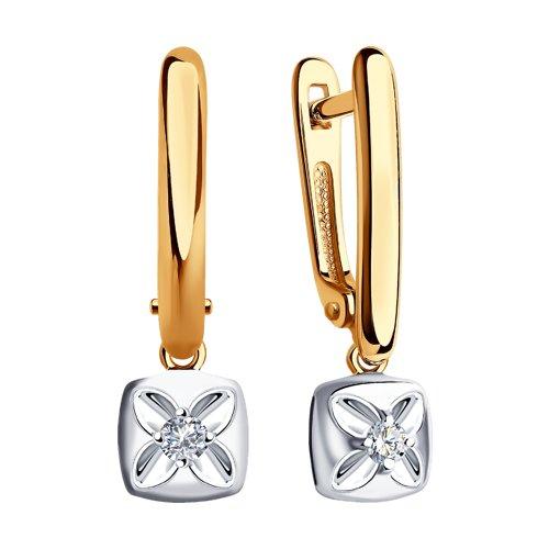 Серьги из комбинированного золота с бриллиантами (1021360) - фото №2