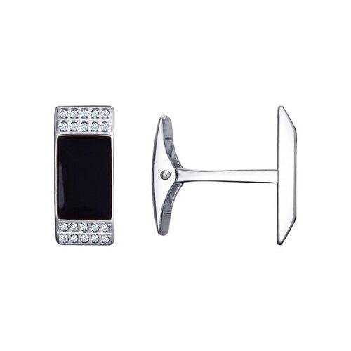 Запонки SOKOLOV из серебра с эмалью с фианитами запонки sokolov из серебра с эмалью алмазной гранью карбоном и фианитами
