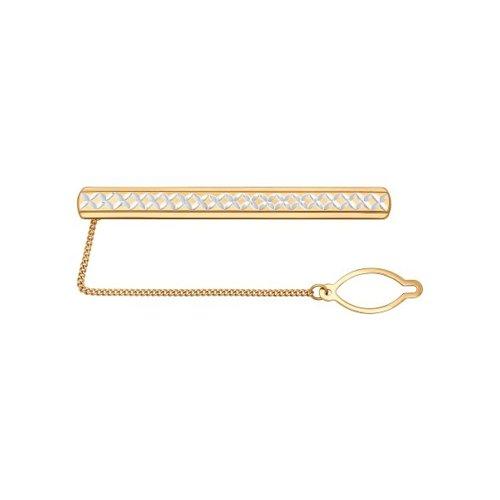 Зажим для галстука из золота с алмазной гранью (090022) - фото