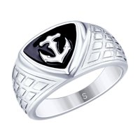 Кольцо «Якорь» из серебра с эмалью