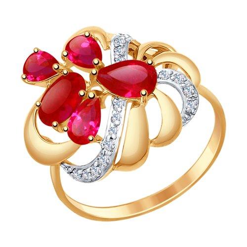 Кольцо из золота с красными корундами (синт.) и фианитами (37714752) - фото