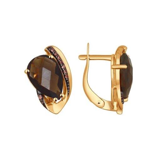 Серьги из золота с раухтопазами и фианитами (724322) - фото