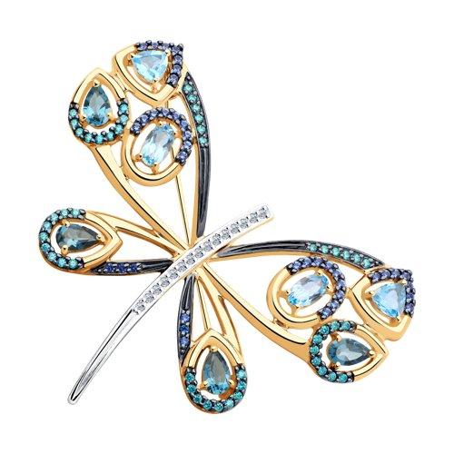 Брошь из золота с голубыми и синими топазами и фианитами (740298) - фото