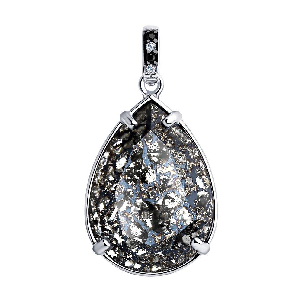 Фото - Подвеска SOKOLOV из серебра с чёрным кристаллом Swarovski и фианитами sokolov кольцо из серебра с чёрным кристаллом swarovski 94012037 размер 19 5