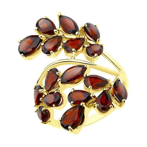 Кольцо из желтого золота с гранатами (715589-2) - фото